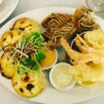 courthouse restaurant - waterfront dining fine dining seafood platter delicious food moreton bay bug mornay scallops peppered sesame prawns